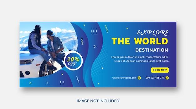 Modello di copertina di facebook per le vacanze delle vacanze di viaggio Vettore Premium