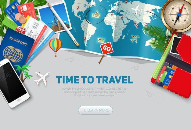 Modello di sfondo di viaggi e turismo