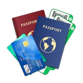 Concetto di viaggio e turismo. biglietti aerei, passaporti e carte di credito, turismo e pianificazione