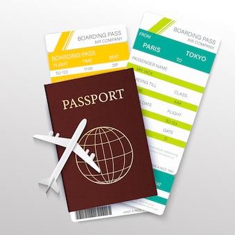 Carta di concetto di viaggio e turismo con passaporto 3d dettagliato realistico, biglietti aereo e icone di linea sottile