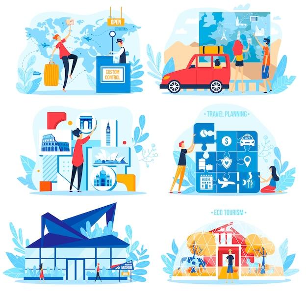 Insieme dell'illustrazione di concetto di turismo di viaggio, caratteri turistici dell'uomo della donna del fumetto che progettano la vacanza di festa su bianco