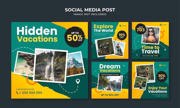 Modello di post instagram social media di viaggio e turismo