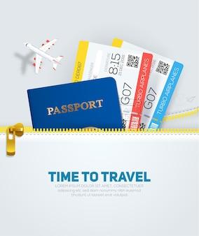 Viaggi e turismo con passaporto e biglietti in stile piatto dalla tasca con cerniera.