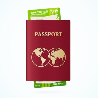 Concetto turistico di viaggio con passaporto e carta d'imbarco.