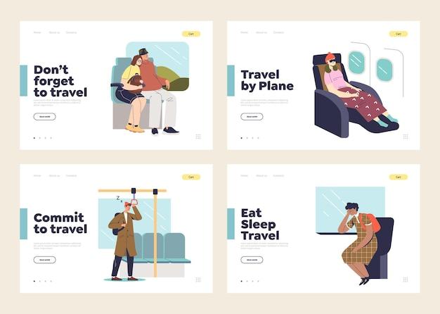 Concetto di viaggio e trasporto del set di pagine di destinazione