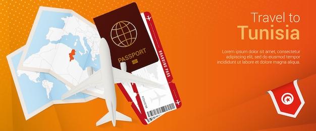 Viaggio in tunisia banner pop-under. banner di viaggio con passaporto, biglietti, aereo, carta d'imbarco, mappa e bandiera della tunisia.