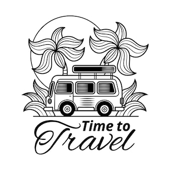 Banner tipografico di viaggio con citazione ispiratrice è tempo di viaggiare, sole, onde del mare, oceano su sfondo bianco nei colori blu. modello disegnato a mano di vettore