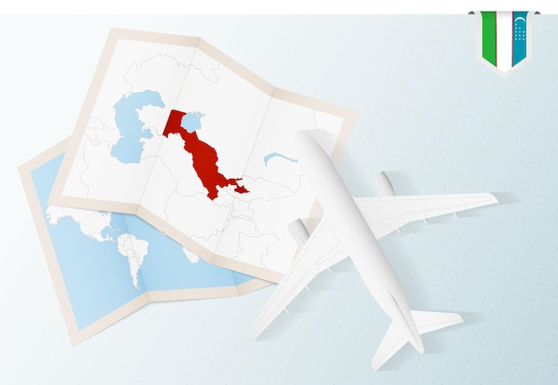 Viaggio in uzbekistan, aereo vista dall'alto con mappa e bandiera dell'uzbekistan.