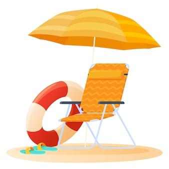 Concetto di viaggio e vacanza ombrellone e sedia rilassante sulla spiaggia
