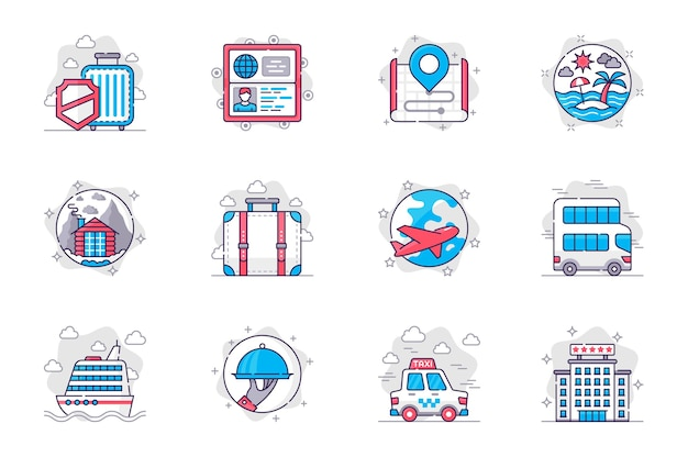 Set di icone di linea piatta per il concetto di vacanza di viaggio turismo mondiale e ricreazione per l'app mobile