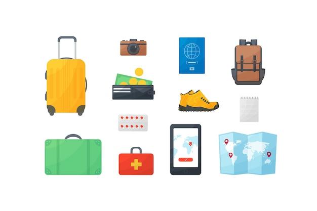 Viaggi e vacanze flat design concept, articoli per turisti, tempo libero, riposo, borsa, portafoglio, stivali, kit di pronto soccorso, valigia, macchina fotografica, soldi, passaporto, zaino, navigatore, telefono, mappa