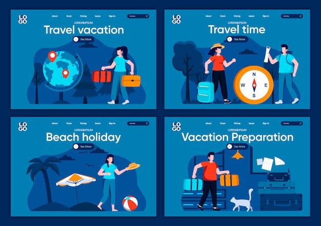 Set di pagine di destinazione piane per le vacanze. attività estiva sulla spiaggia, coppia con scene di bagagli per sito web o pagina web cms. tempo di viaggio, vacanza al mare, illustrazione di preparazione vacanza.