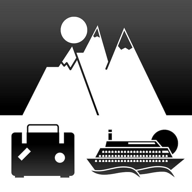 Icone di viaggio e vacanza