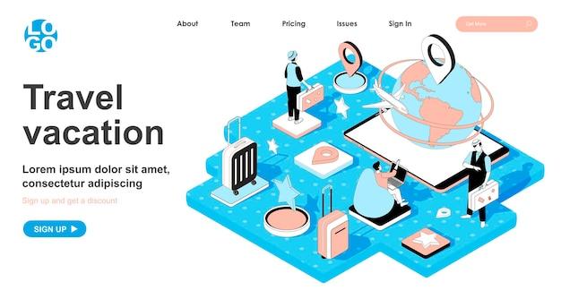 Concetto isometrico di vacanza di viaggio nella progettazione 3d per la pagina di destinazione
