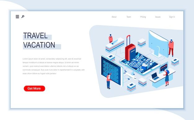 Modello di pagina di destinazione isometrica di viaggi e vacanze.