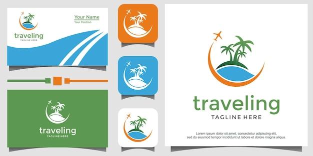 Modello di progettazione del logo delle vacanze di viaggio