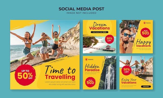 Modello di post instagram social media di viaggio e vacanza