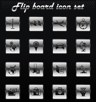 Icone meccaniche flip vettore di viaggio per la progettazione dell'interfaccia utente