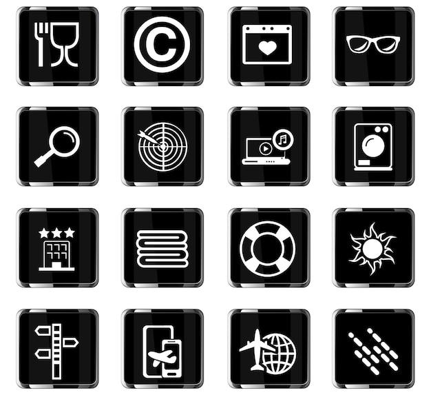 Icone vettoriali di viaggio per la progettazione dell'interfaccia utente
