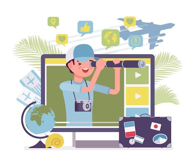 Ragazzo blogger di video di viaggio