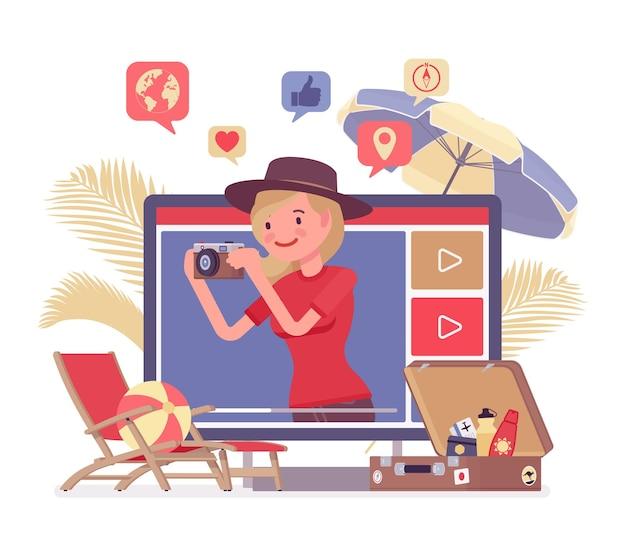 Video blogger di viaggio ragazza