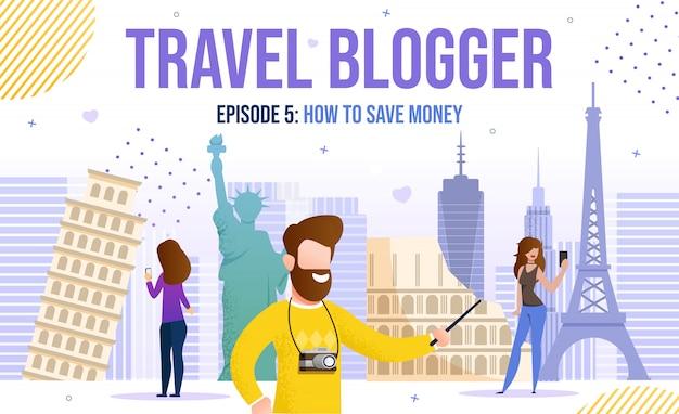 Video di viaggio ispirazione di idee del blogger dell'uomo della donna