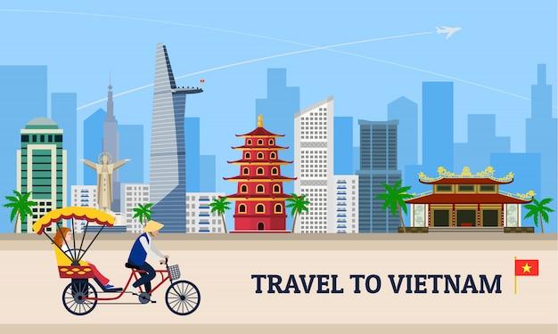 Viaggia in vietnam concetto