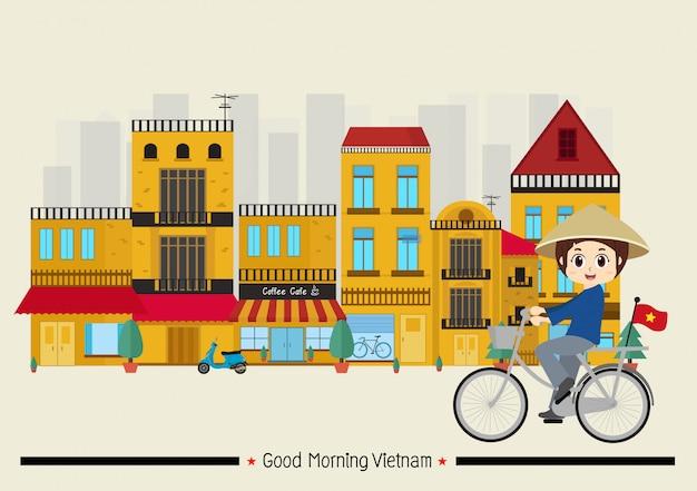Viaggia in vietnam nel centro storico di hanoi Vettore Premium
