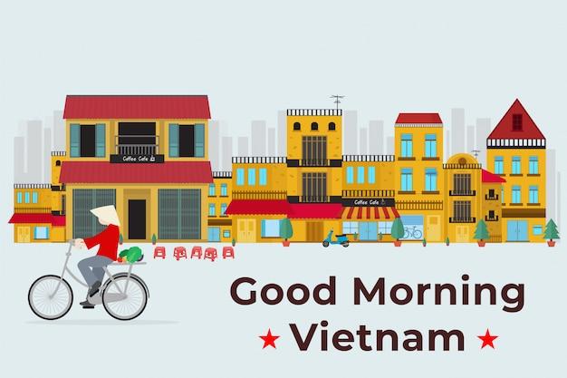 Viaggio in vietnam. bicicletta da corsa vietnamita sulla città vecchia