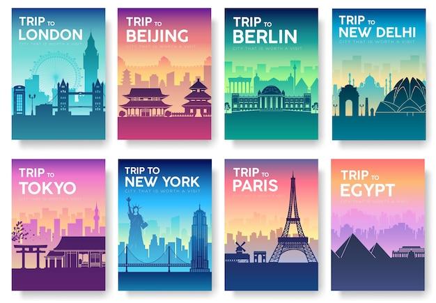 Brochure di viaggio del mondo con set di tipografia