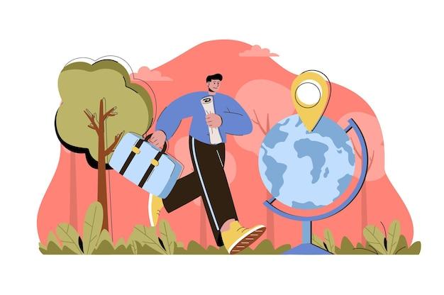 Viaggia il concetto di mondo l'uomo con i bagagli fa un viaggio in tutto il mondo