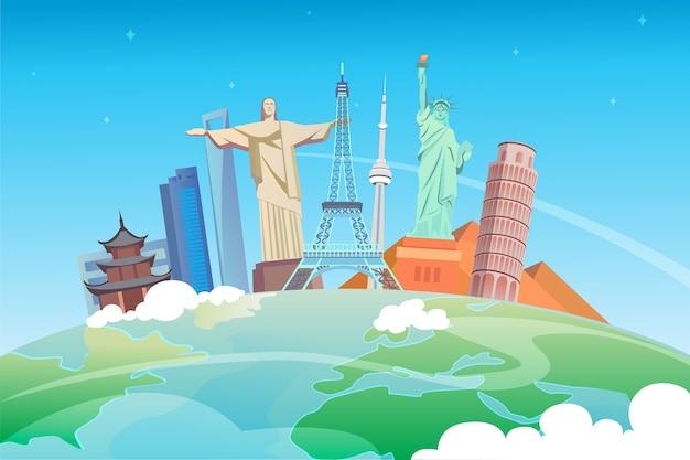 Viaggia nel mondo. viaggio su strada. turismo. punti di riferimento sul globo. illustrazione.