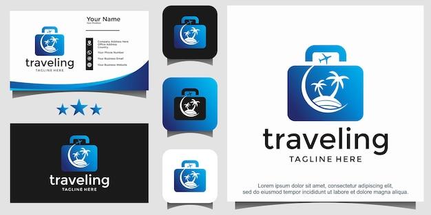 Design del logo della spiaggia del viaggiatore
