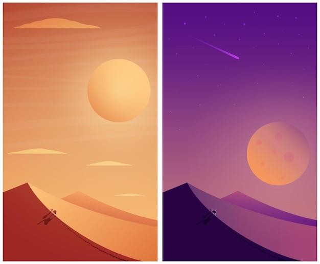 Viaggiatore nel deserto. deserto giorno e notte.