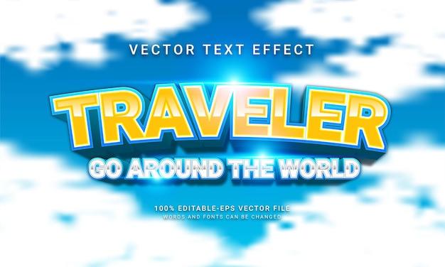 Il viaggiatore fa il giro del mondo effetto testo modificabile con temi natalizi