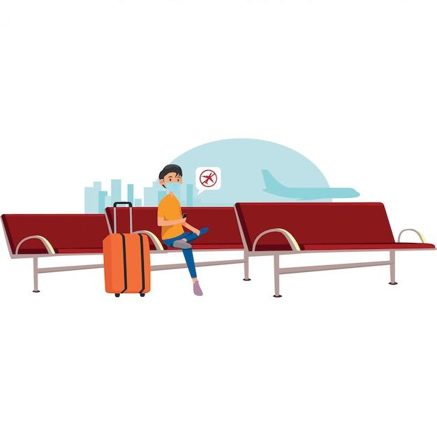 Il viaggiatore ha ricevuto una notifica di volo annullata nella sala d'attesa dell'aeroporto