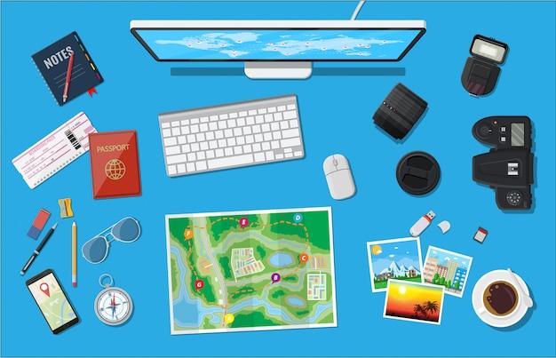 Viaggio di pianificazione del viaggiatore.