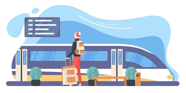 Turista del viaggiatore con l'uomo dello zaino alla piattaforma della stazione ferroviaria vicino al treno moderno Vettore Premium