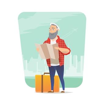 Viaggiatore sullo sfondo urbano. uomo che guarda la mappa. viaggio avventuroso. vacanze estive. intorno al mondo. stile cartone animato. illustrazione.