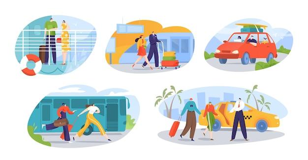 Viaggiatori e turisti trasportano una serie di illustrazioni isolate