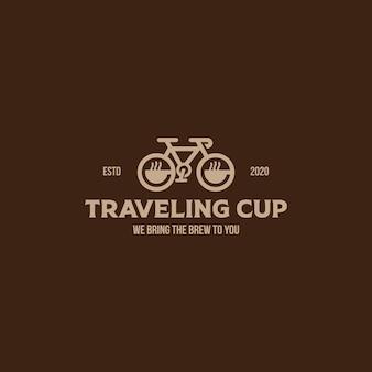 Modello di logo in stile vintage della tazza di caffè da viaggio