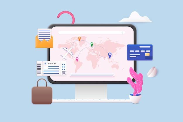 Viaggiare in aereo pianificando un turismo per le vacanze estive concetto di biglietto online 3d