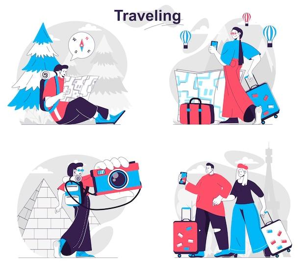 Set di concetti di viaggio i turisti con bagagli o zaini viaggiano in tutto il mondo