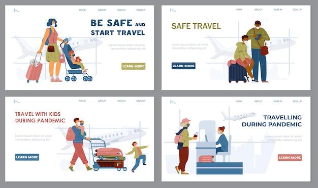 In viaggio durante la pandemia set di modelli di siti web persone che indossano maschere in aeroporto. pagina di destinazione