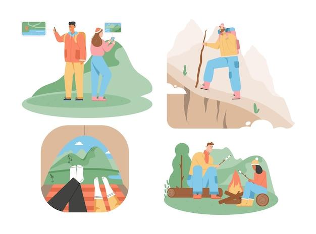Set di scene di escursioni in viaggio. l'uomo guarda la mappa del percorso. illustrazione