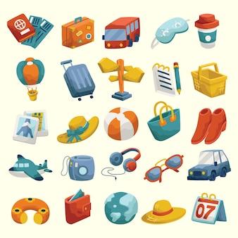 Set di icone colorate vacanza itinerante