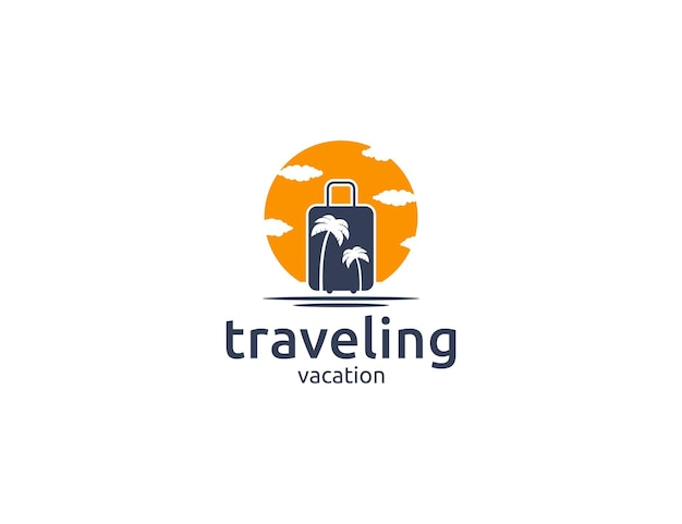 Design del logo da viaggio con borsa da viaggio, palma e illustrazione del sole
