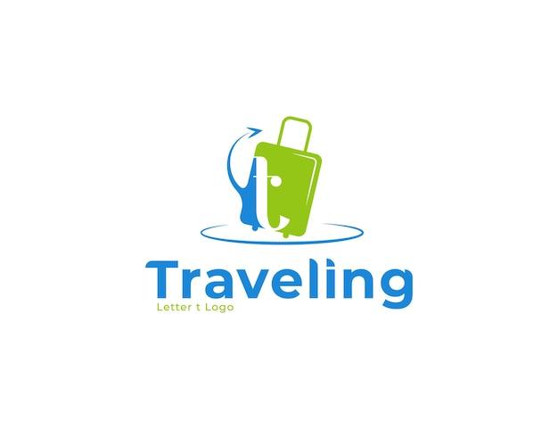 Logo da viaggio con concetto di borsa e freccia