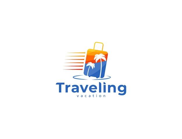 Logo da viaggio con borsa da viaggio e illustrazione della palma