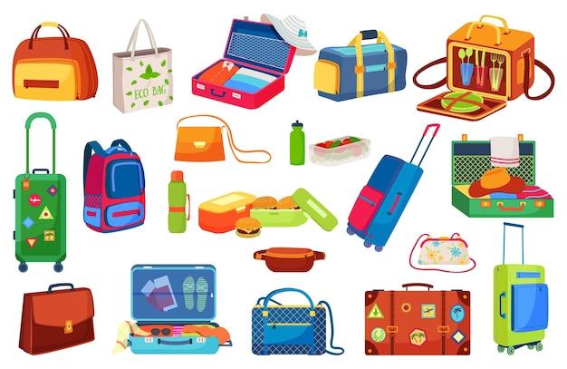 Set di illustrazioni isolate icone di viaggio bagagli